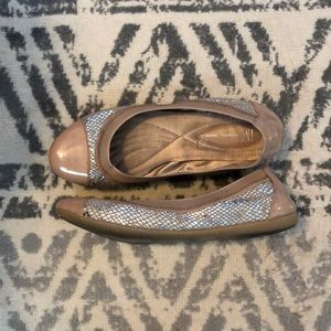 INC brand rose/taupe ballet flats with silver